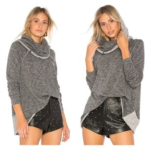 Free People Beach Gray Cocoon Cowlneck Pullover
